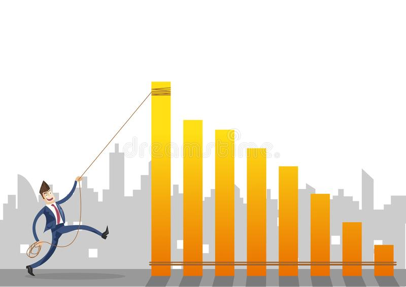 Επιχειρηματίας που τραβά την κίτρινη γραφική παράσταση με μια έννοια σχοινιών στο υπόβαθρο πόλεων διανυσματική απεικόνιση