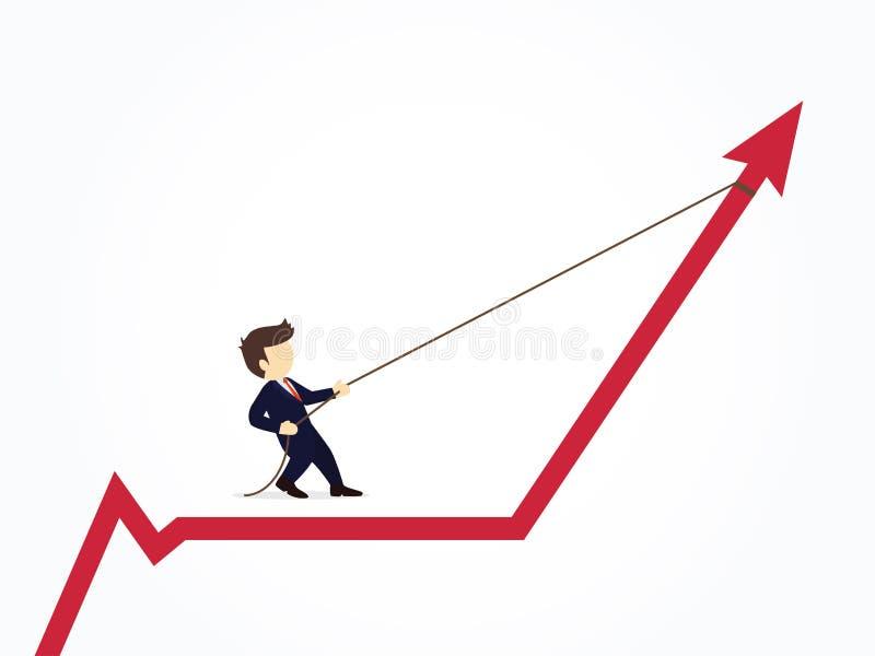 Επιχειρηματίας που τραβά το διάγραμμα γραφικών παραστάσεων βελών επάνω με ένα σχοινί Διανυσματική απεικόνιση για το επιχειρησιακό διανυσματική απεικόνιση