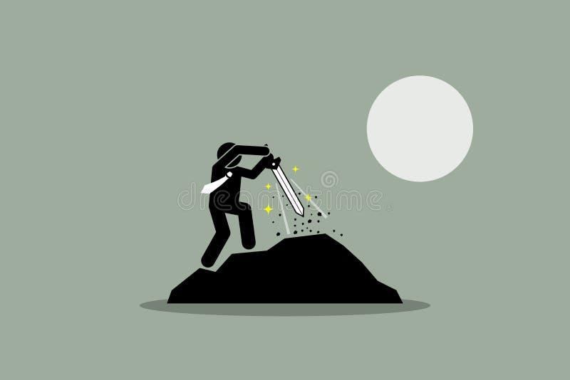 Επιχειρηματίας που τραβά το ξίφος Excalibur έξω από έναν βράχο διανυσματική απεικόνιση