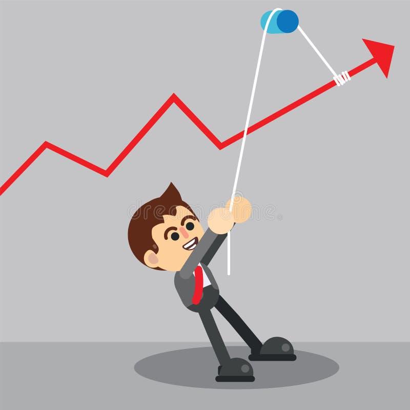 Επιχειρηματίας που τραβά το σχοινί διανυσματική απεικόνιση
