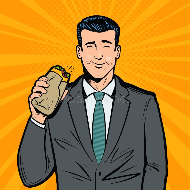 Επιχειρηματίας που τρώει το εύγευστο σάντουιτς Μεσημεριανό διάλειμμα, έννοια γρήγορου φαγητού λαϊκή αναδρομική διανυσματική απεικ ελεύθερη απεικόνιση δικαιώματος