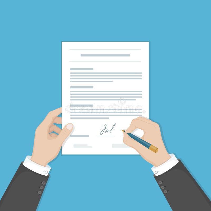 Επιχειρηματίας που υπογράφει ένα έγγραφο Χέρια ατόμων με τη μάνδρα και τη σύμβαση Η διαδικασία της επιχειρησιακής οικονομικής συμ διανυσματική απεικόνιση