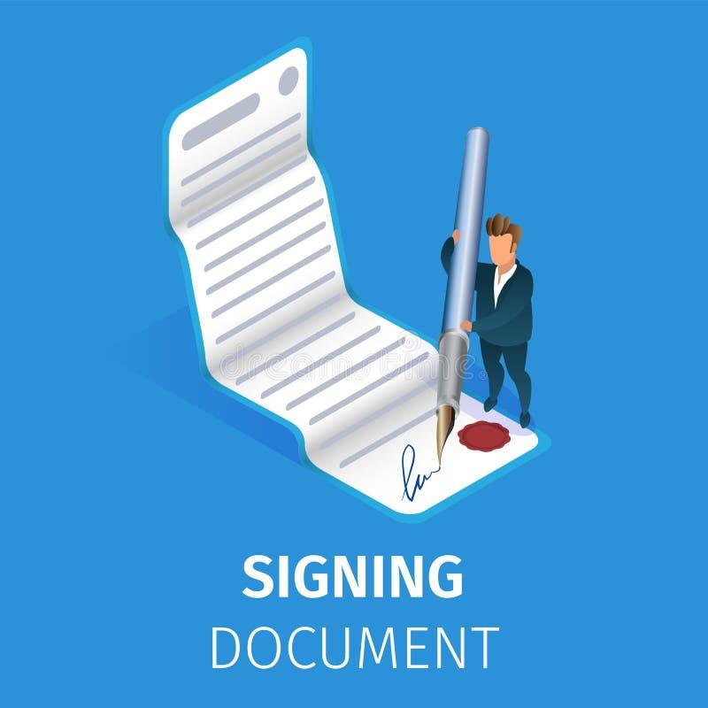 Επιχειρηματίας που υπογράφει το έγγραφο με την τεράστια μάνδρα καλαμιών ελεύθερη απεικόνιση δικαιώματος