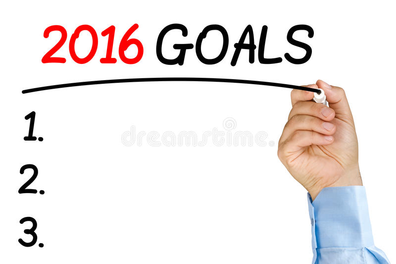 Επιχειρηματίας που υπογραμμίζει το κείμενο 2016 στόχων με τη μαύρο πίλημα-άκρη ή το μ στοκ φωτογραφία