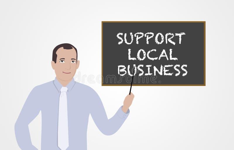 Επιχειρηματίας που υποστηρίζει το τοπικό μάρκετινγκ διανυσματική απεικόνιση