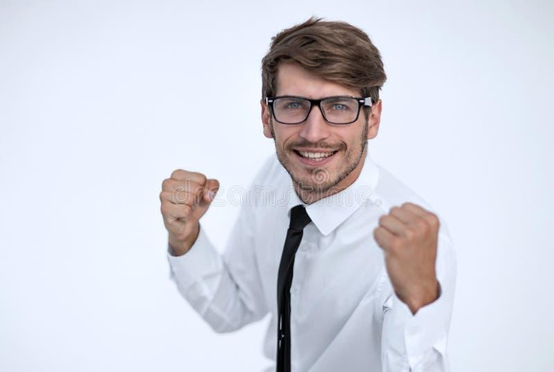 Επιχειρηματίας που χαίρεται για την επιτυχία του στοκ εικόνες