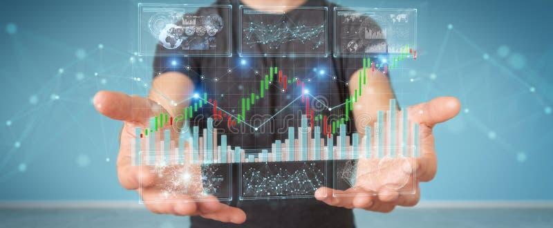 Επιχειρηματίας που χρησιμοποιεί τα τρισδιάστατα datas και τα διαγράμματα χρηματιστηρίου απόδοσης διανυσματική απεικόνιση