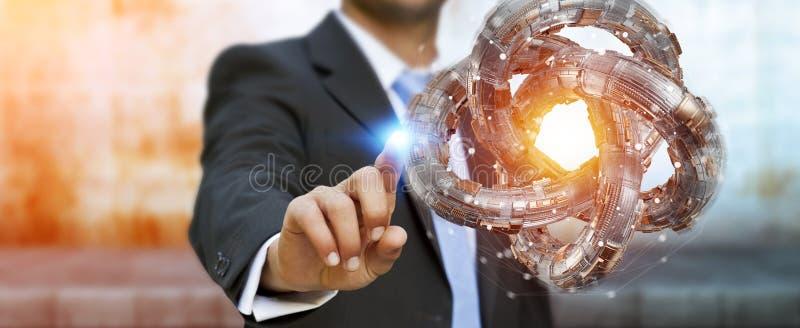 Επιχειρηματίας που χρησιμοποιεί τη φουτουριστική τρισδιάστατη απόδοση αντικειμένου δακτυλίων κατασκευασμένη απεικόνιση αποθεμάτων