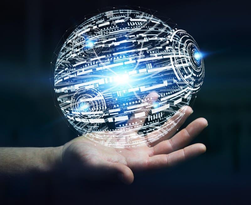 Επιχειρηματίας που χρησιμοποιεί το δίκτυο δεδομένων με τα δάχτυλά του διανυσματική απεικόνιση
