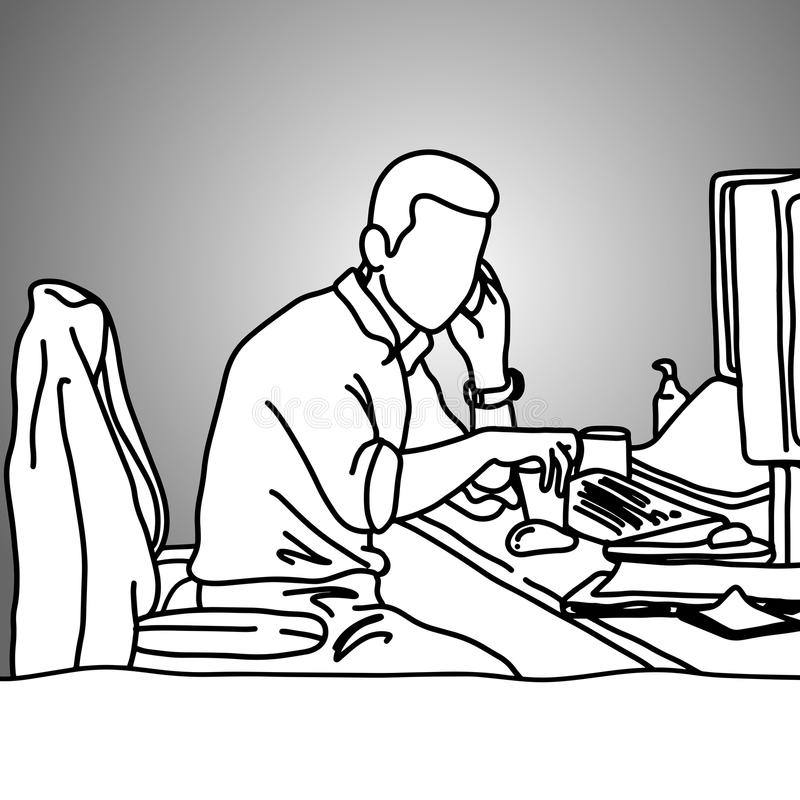 Επιχειρηματίας που χρησιμοποιεί το κινητό τηλέφωνο στο ακατάστατο διάνυσμα γραφείων εργασίας του ελεύθερη απεικόνιση δικαιώματος