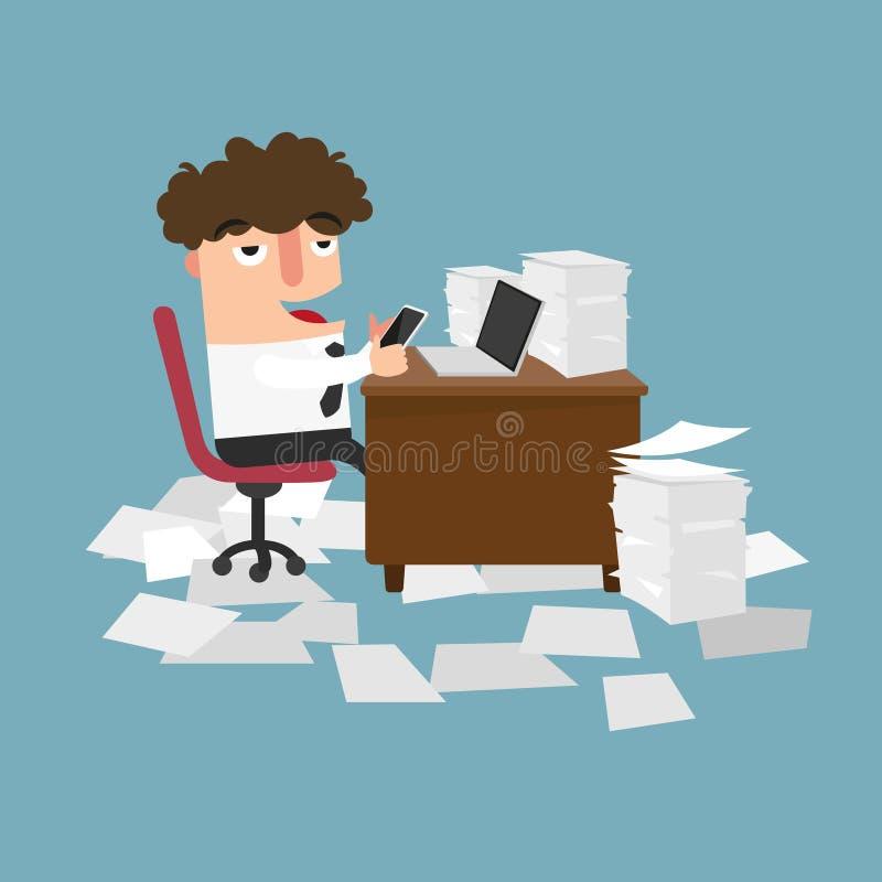 Επιχειρηματίας που χρησιμοποιεί το κινητό τηλέφωνο στην εργασία έννοια του procrastinatio ελεύθερη απεικόνιση δικαιώματος