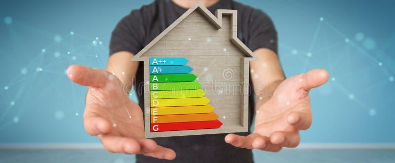 Επιχειρηματίας που χρησιμοποιεί το τρισδιάστατο διάγραμμα ενεργειακής εκτίμησης απόδοσης σε ένα ξύλινο χ ελεύθερη απεικόνιση δικαιώματος