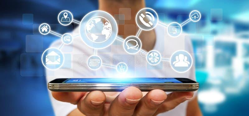 Επιχειρηματίας που χρησιμοποιεί το ψηφιακό δίκτυο Ιστού με τα εικονίδια Ιστού διανυσματική απεικόνιση