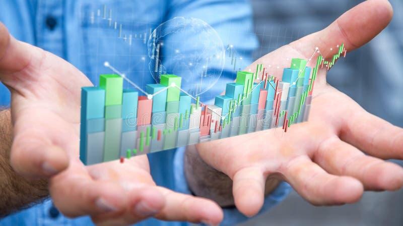 Επιχειρηματίας που χρησιμοποιεί το ψηφιακό τρισδιάστατο χρηματιστήριο stats και το γ διανυσματική απεικόνιση