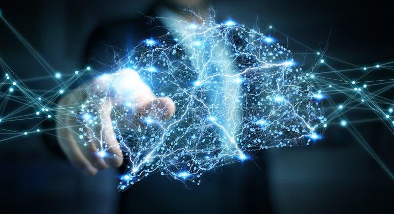 Επιχειρηματίας που χρησιμοποιεί το ψηφιακό των ακτίνων X ανθρώπινο τρισδιάστατο renderi διεπαφών εγκεφάλου ελεύθερη απεικόνιση δικαιώματος