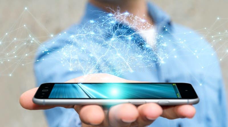 Επιχειρηματίας που χρησιμοποιεί το ψηφιακό των ακτίνων X ανθρώπινο τρισδιάστατο renderi διεπαφών εγκεφάλου απεικόνιση αποθεμάτων