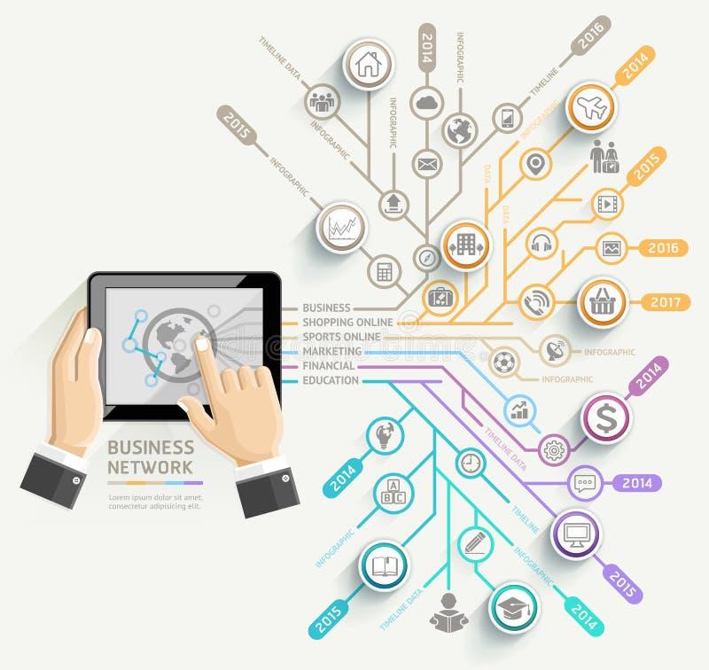 Επιχειρηματίας που χρησιμοποιεί το infographic πρότυπο υπόδειξης ως προς το χρόνο ταμπλετών απεικόνιση αποθεμάτων