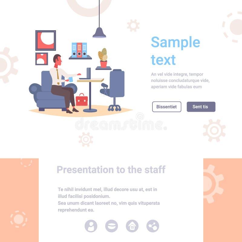 Επιχειρηματίας που χρησιμοποιεί το lap-top εργασιακών χώρων επιχειρησιακών ατόμων εργασίας διαδικασίας στο σύγχρονο σύνολο χαρακτ απεικόνιση αποθεμάτων