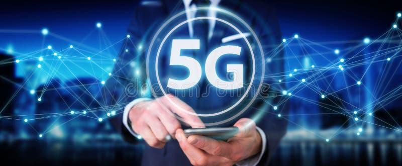 Επιχειρηματίας που χρησιμοποιεί 5G την τρισδιάστατη απόδοση διεπαφών δικτύων απεικόνιση αποθεμάτων