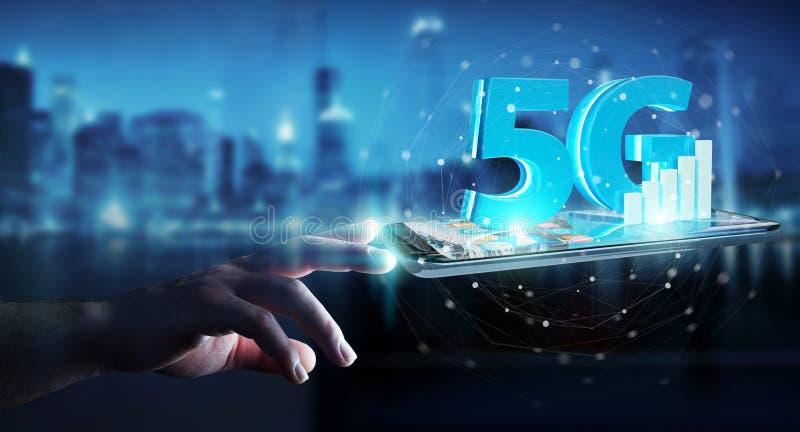 Επιχειρηματίας που χρησιμοποιεί 5G το δίκτυο με την κινητή τηλεφωνική τρισδιάστατη απόδοση διανυσματική απεικόνιση