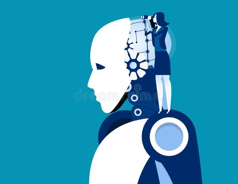 Επιχειρηματίας που ψάχνει και αναλύει Έννοια απεικόνιση επιχειρηματικού φορέα, Τεχνητή νοημοσύνη, Μηχανικός, Ανάπτυξη ελεύθερη απεικόνιση δικαιώματος