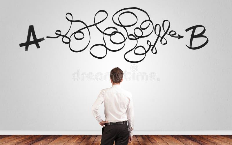 Επιχειρηματίας που ψάχνει τη λύση στεμένος μπροστά από έναν τοίχο στοκ εικόνες
