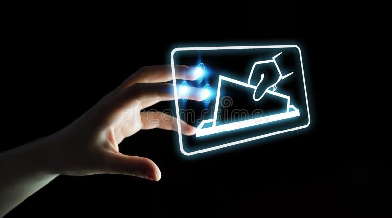 Επιχειρηματίας που ψηφίζει χρησιμοποιώντας την ψηφιακή τρισδιάστατη απόδοση διεπαφών ελεύθερη απεικόνιση δικαιώματος
