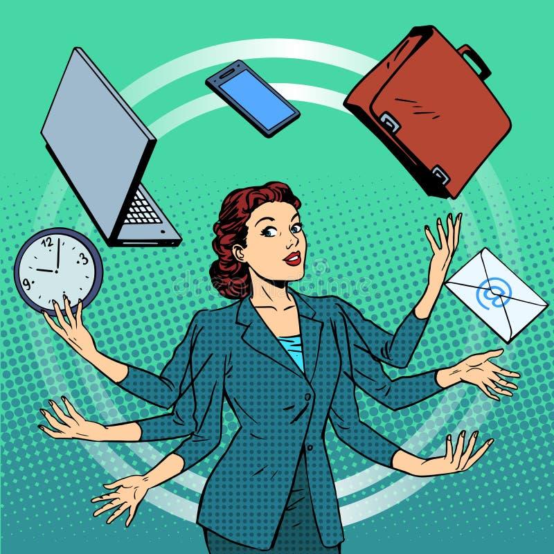 Επιχειρηματίας πολύς χρόνος επιχειρησιακής ιδέας χεριών διανυσματική απεικόνιση