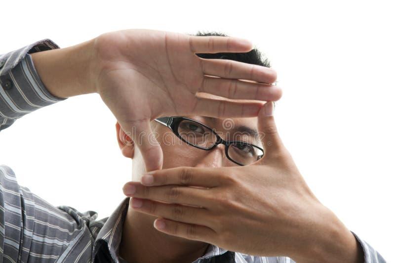 Επιχειρηματίας πλαισίων δάχτυλων στοκ φωτογραφίες