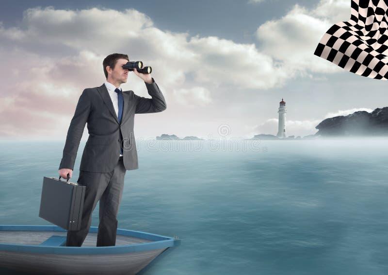 επιχειρηματίας σε μια βάρκα στη θάλασσα που ψάχνει τη σημαία ελεγκτών με τις διόπτρες στοκ φωτογραφίες με δικαίωμα ελεύθερης χρήσης