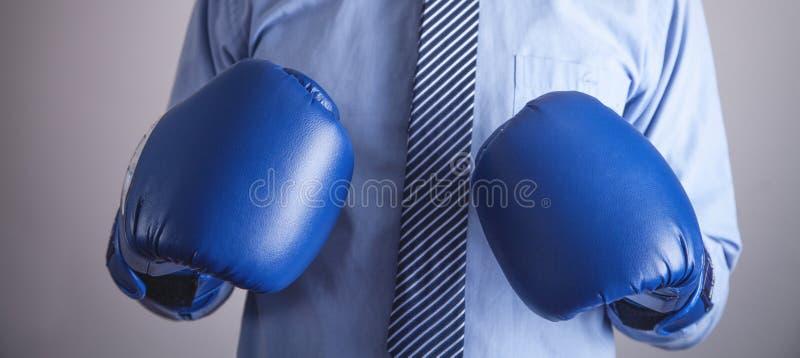 Επιχειρηματίας στα εγκιβωτίζοντας γάντια Επιχείρηση, δύναμη, αθλητισμός στοκ εικόνες
