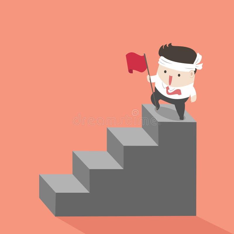 Επιχειρηματίας στα τοπ σκαλοπάτια στην επιτυχία ελεύθερη απεικόνιση δικαιώματος