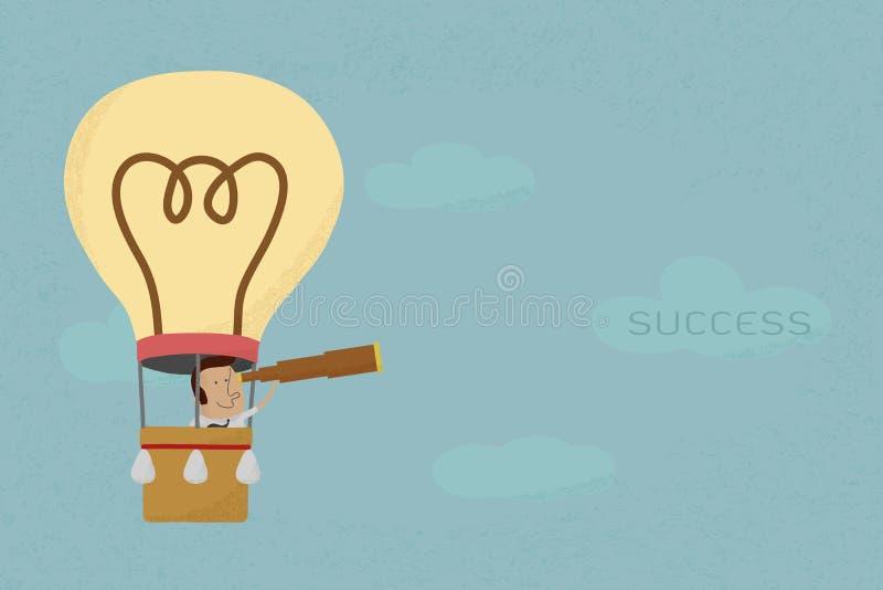 Επιχειρηματίας στην αναζήτηση μπαλονιών στην επιτυχία ελεύθερη απεικόνιση δικαιώματος