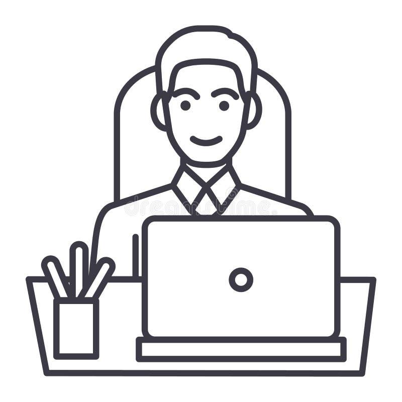 Επιχειρηματίας στην αρχή στον πίνακα με το lap-top, διανυσματικό εικονίδιο γραμμών μπροστινής άποψης, σημάδι, απεικόνιση στο υπόβ ελεύθερη απεικόνιση δικαιώματος