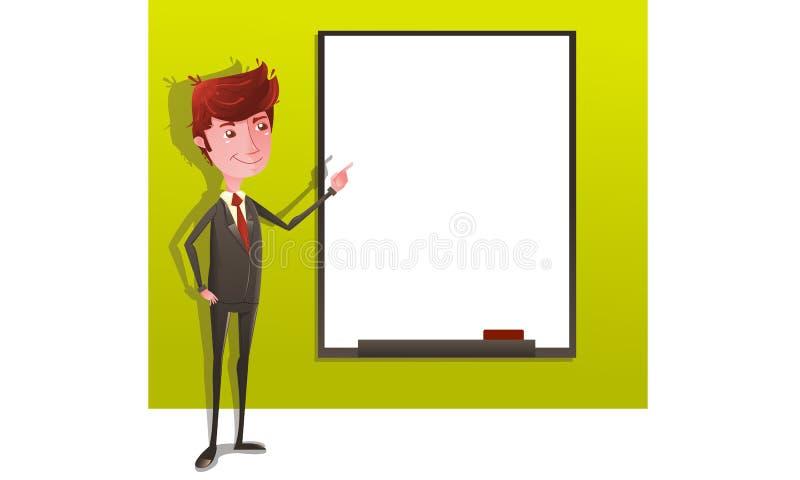 Επιχειρηματίας στην παρουσίαση με το whiteboard διανυσματική απεικόνιση