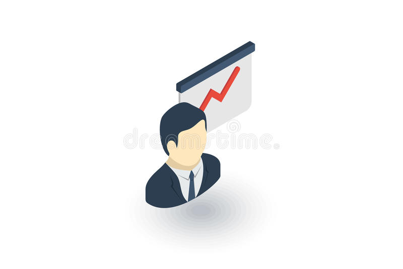 Επιχειρηματίας στη διάσκεψη ή την παρουσίαση, διάγραμμα γραφικών παραστάσεων αύξησης, isometric επίπεδο εικονίδιο επιτυχίας αγορά απεικόνιση αποθεμάτων