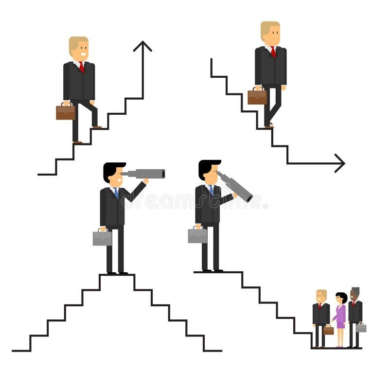 Επιχειρηματίας στη σκάλα σταδιοδρομίας, πάνω-κάτω το εταιρικό ladd διανυσματική απεικόνιση