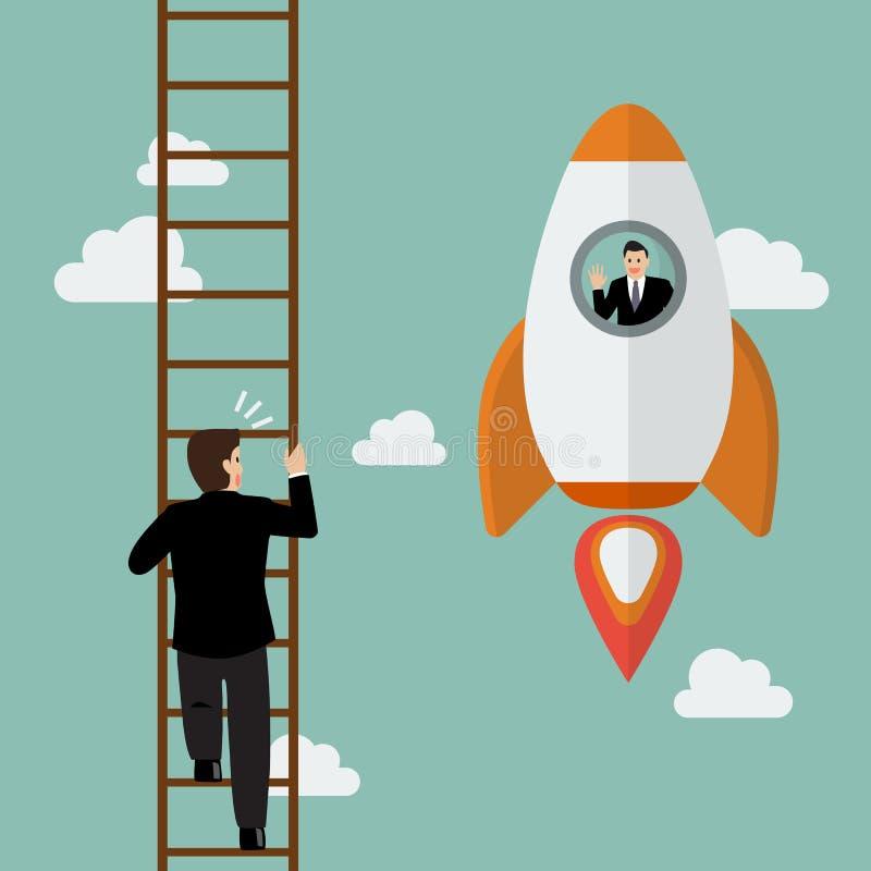 Επιχειρηματίας στον επιχειρηματία περασμάτων μυγών μπαλονιών ζεστού αέρα που αναρριχείται στη σκάλα απεικόνιση αποθεμάτων
