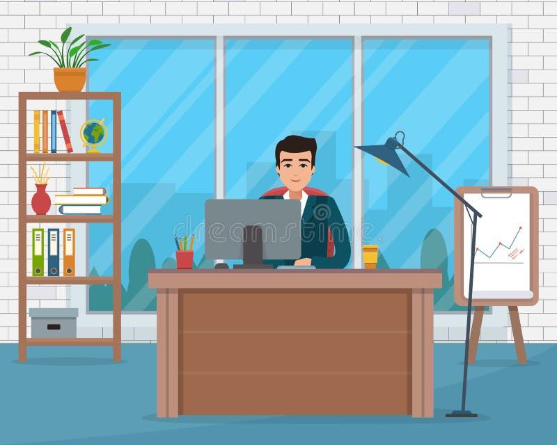 Επιχειρηματίας στον εργασιακό χώρο στην αρχή διανυσματική απεικόνιση