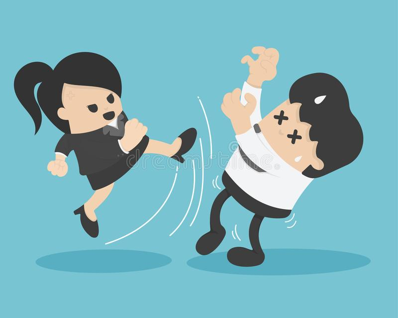 Επιχειρηματίας στον κλωτσώντας επιχειρηματία κοστουμιών απεικόνιση αποθεμάτων