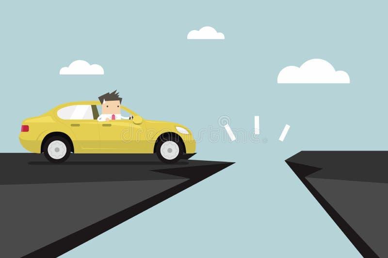 Επιχειρηματίας στο αυτοκίνητο με το χάσμα του δρόμου βουνών διανυσματική απεικόνιση