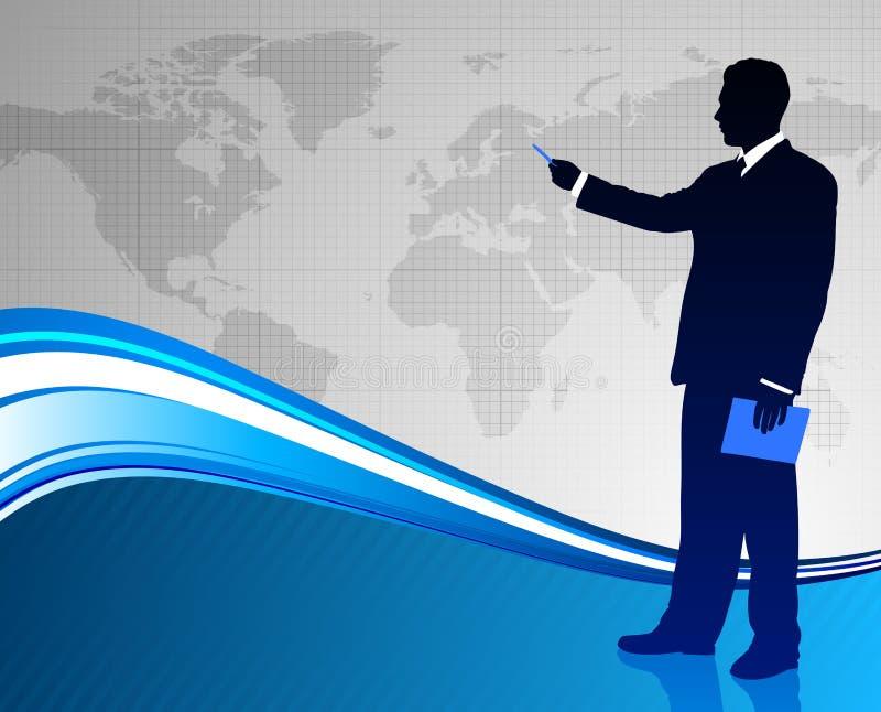 Επιχειρηματίας στο αφηρημένο υπόβαθρο παγκόσμιων χαρτών απεικόνιση αποθεμάτων