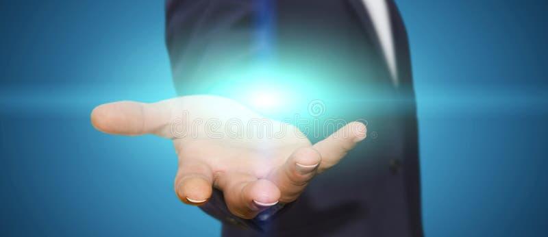 Επιχειρηματίας στο γραφείο του με το φως απεικόνιση αποθεμάτων