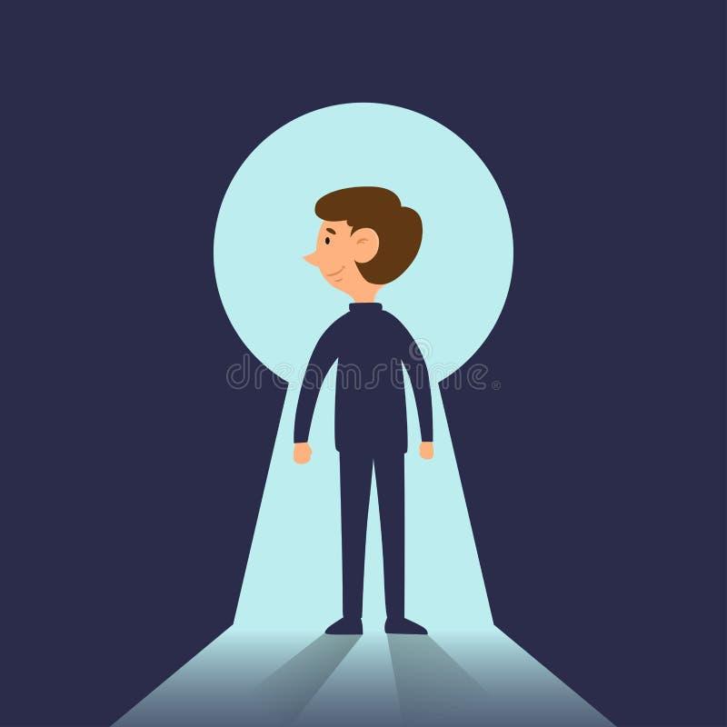 Επιχειρηματίας στο διάνυσμα κινούμενων σχεδίων έννοιας λύσης επιχείρησης κλειδαροτρυπών επιτυχίας απεικόνιση αποθεμάτων