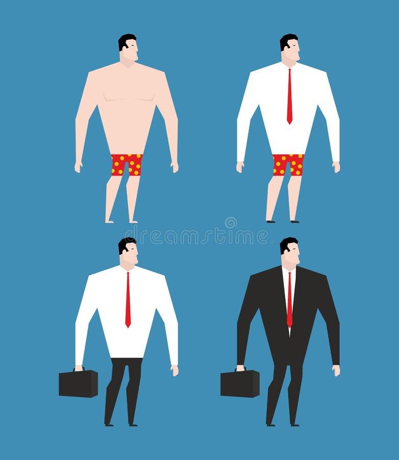 Επιχειρηματίας στο επιχειρησιακό κοστούμι και το χαρτοφύλακα Καθορισμένο άτομο στα ενδύματα ελεύθερη απεικόνιση δικαιώματος