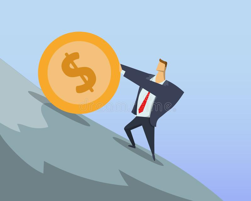 Επιχειρηματίας στο κοστούμι γραφείων που ωθεί το μεγάλο νόμισμα δολαρίων επάνω ο απότομος λόφος Εργασία Sisyphean Επιχείρηση Sisy ελεύθερη απεικόνιση δικαιώματος