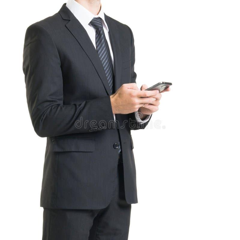 Επιχειρηματίας στο κοστούμι που απομονώνεται στο λευκό Κινηματογράφηση σε πρώτο πλάνο του ατόμου σε formalwear στοκ φωτογραφία με δικαίωμα ελεύθερης χρήσης