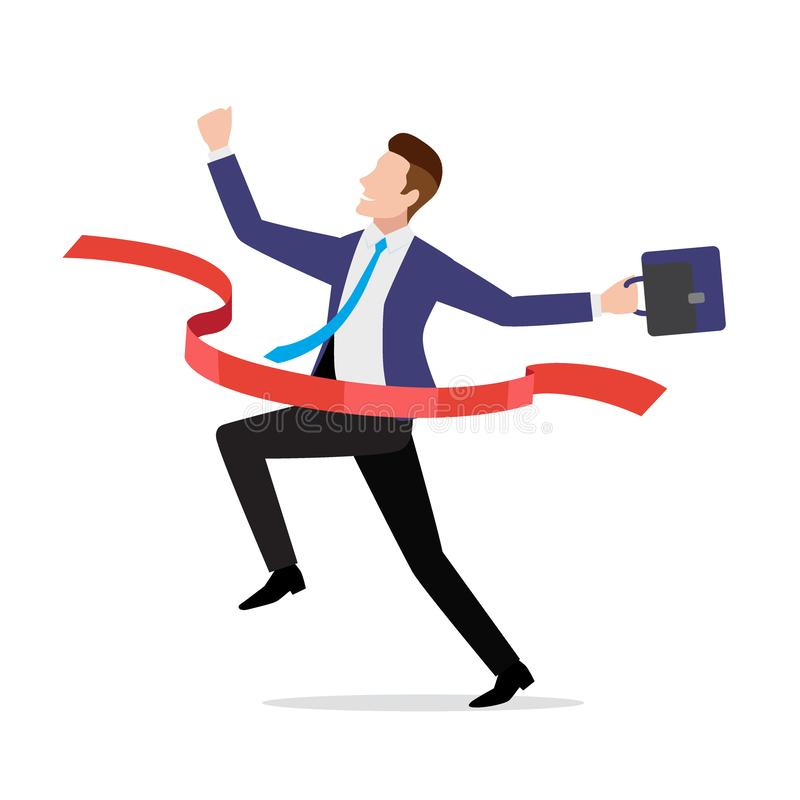 Επιχειρηματίας στο κοστούμι που διασχίζει την κόκκινη γραμμή τερματισμού, κορδέλλα απεικόνιση αποθεμάτων