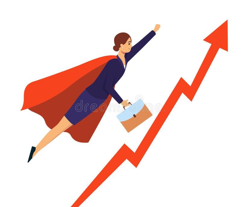 Επιχειρηματίας στο κοστούμι superhero που πετά στην επιτυχία, την κόκκινη γραφική παράσταση με το βέλος αύξησης και τη γυναίκα κι απεικόνιση αποθεμάτων
