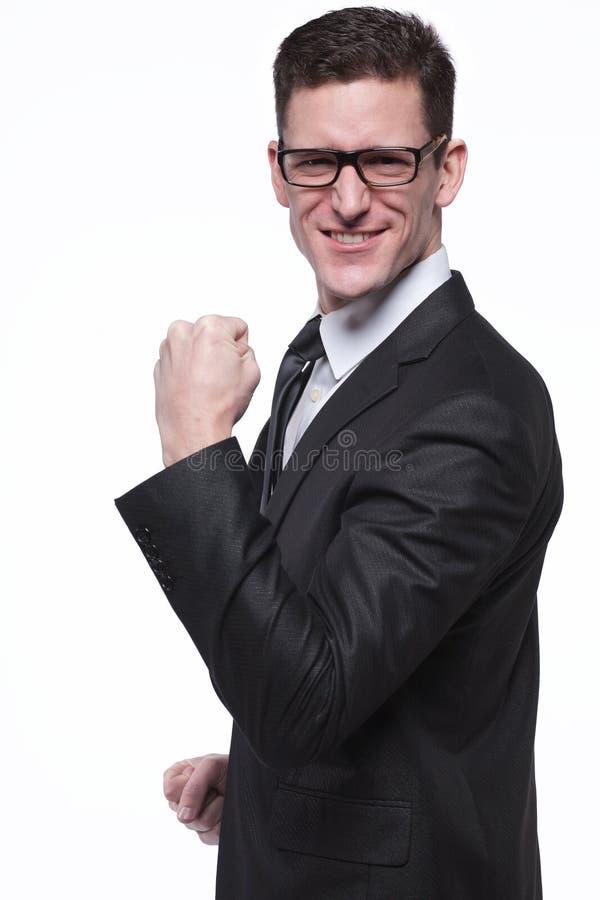 Επιχειρηματίας στο μαύρο κοστούμι στο λευκό. στοκ εικόνες με δικαίωμα ελεύθερης χρήσης